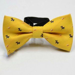 Boys Yellow dog print bow tie